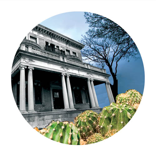 Digitally-manipulated image of a decrepit Chicago mansion with overly large cacti as the front lawn.
