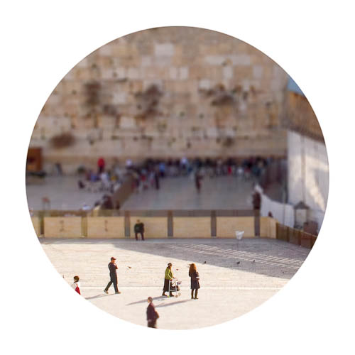 Digitally-manipulated image of the Kotel made to like very small by perspective.