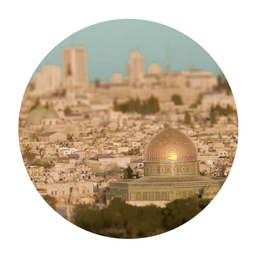 Digitally-manipulated image of the Jerusalem skyline with the Dome of the Rock made to like very small by perspective.