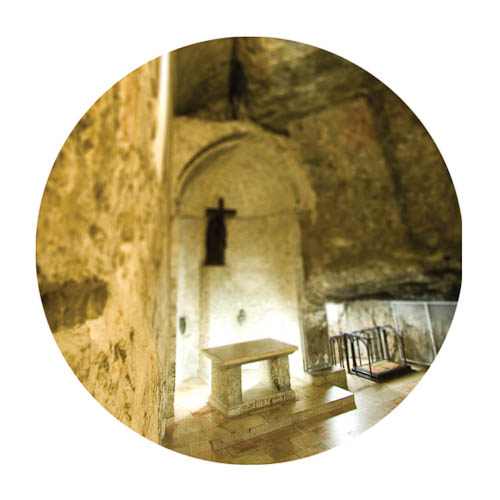 Digitally-manipulated image of the Church of the Holy Sepulchre made to like very small by perspective.