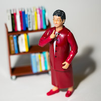 Photo of librarian action figure.