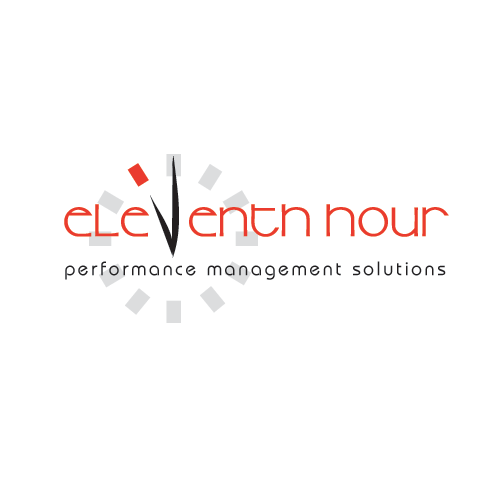 Eleventh Hour is the company name, and the logo features a stylized clock with the 11 marker in red.