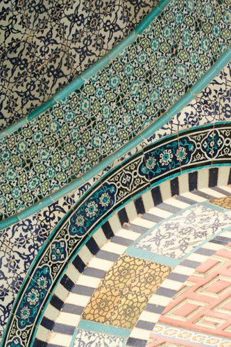 Photo of tile detail of Dome on the Rock.